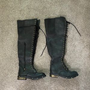 Jeffrey Campbell over the knee lace-up boots
